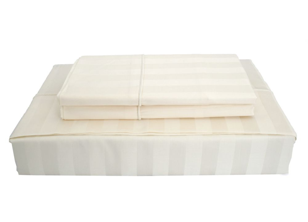 300TC Damask Stripe Sheet Set, Ivory, Queen