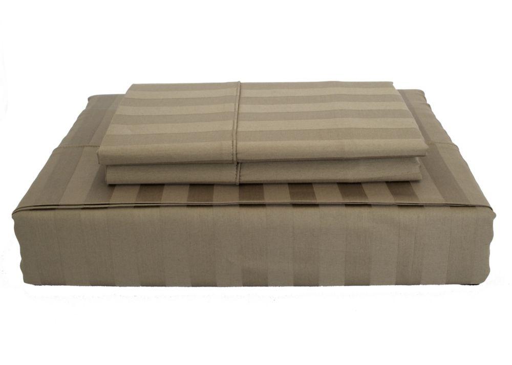 300TC Damask Stripe Sheet Set, Mink, Queen
