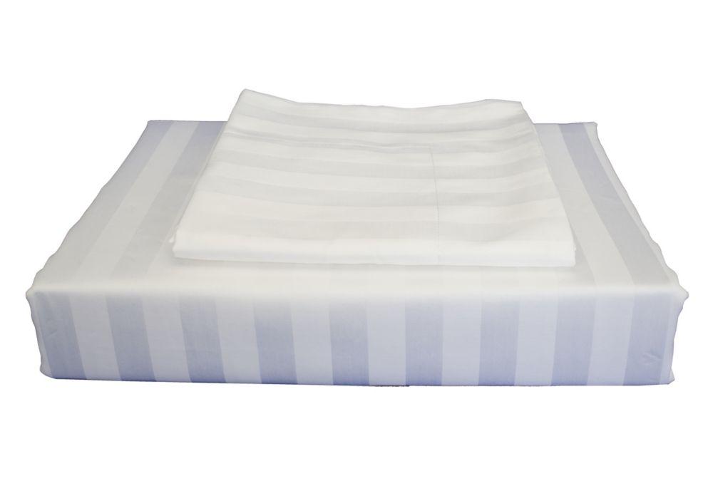 310TC Bamboo Stripe Duvet Cover Set, White, Queen
