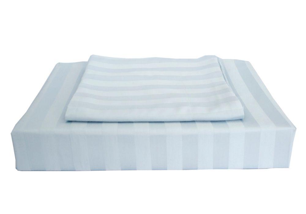 maholi 310 fils au pouce bamboo stripe ensemble de housse de couette bleu lit 2 places. Black Bedroom Furniture Sets. Home Design Ideas