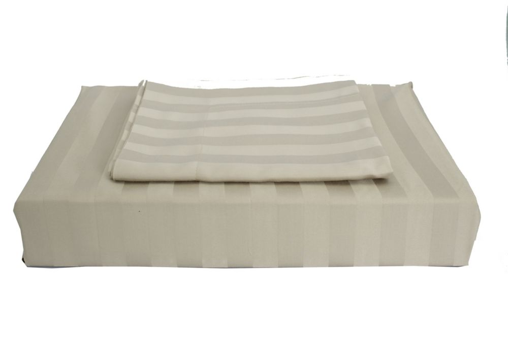 310TC Bamboo Stripe Duvet Cover Set, Taupe, Queen