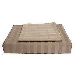 Maholi 310TC Bamboo Stripe Duvet Cover Set, Mink, Queen