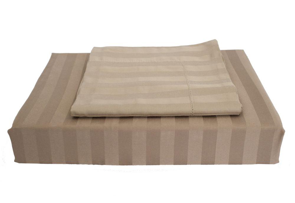 310 fils au pouce, Bamboo Stripe - Ensemble de housse de couette, Vison, très grand lit