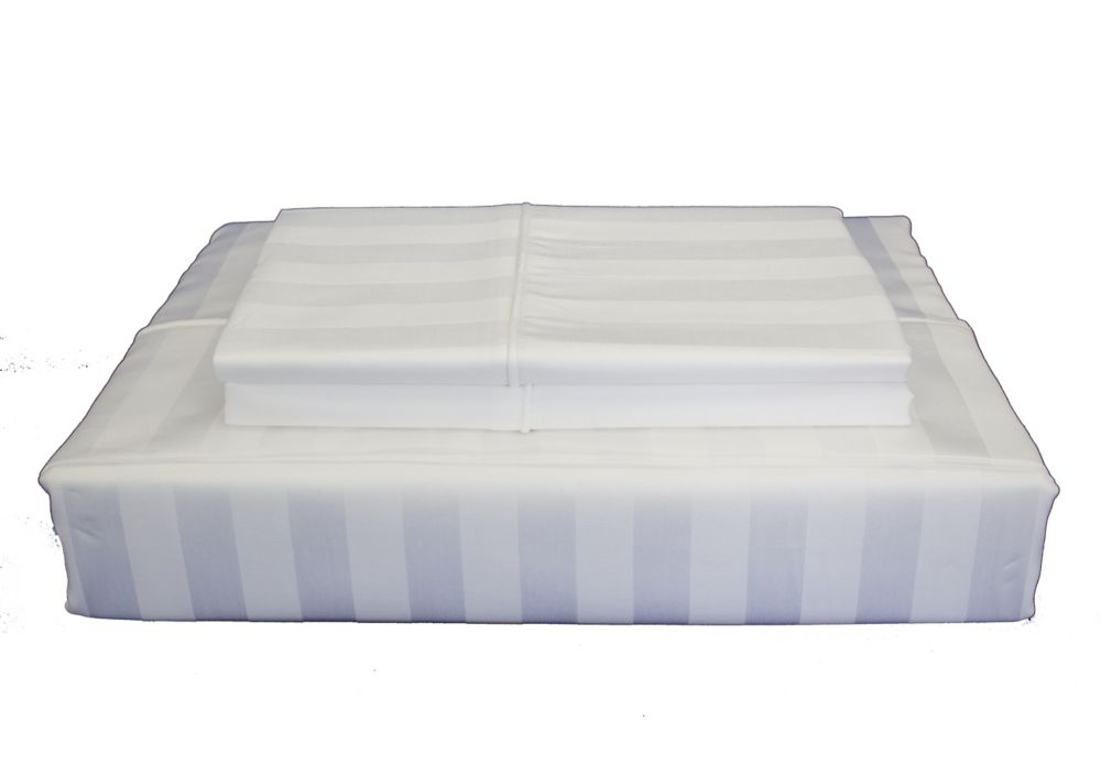 310 fils au pouce, Bamboo Stripe - Ensemble de feuille, Blanc, très grand lit