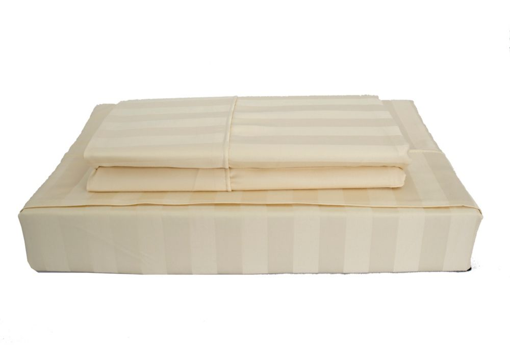 310TC Bamboo Stripe Sheet Set, Beige, Twin