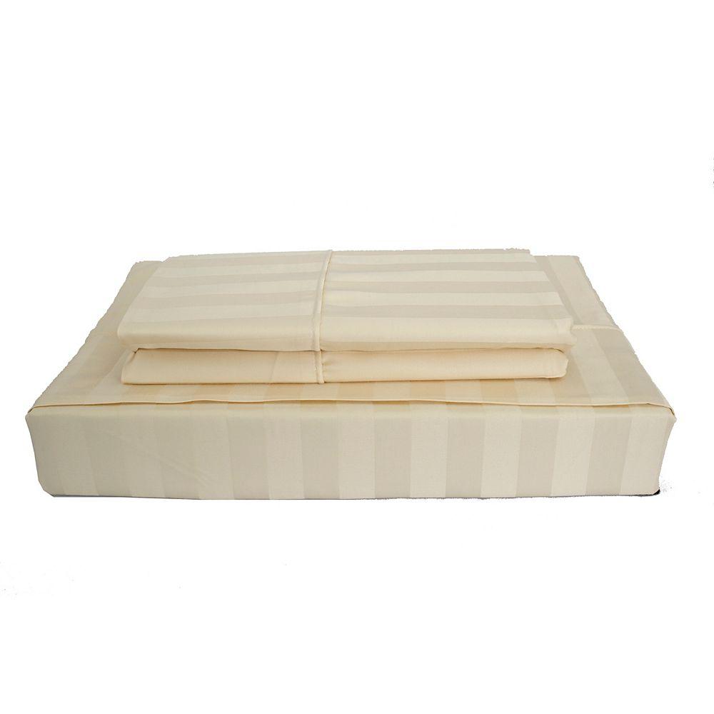 Maholi 310TC Bamboo Stripe Sheet Set, Beige, Double