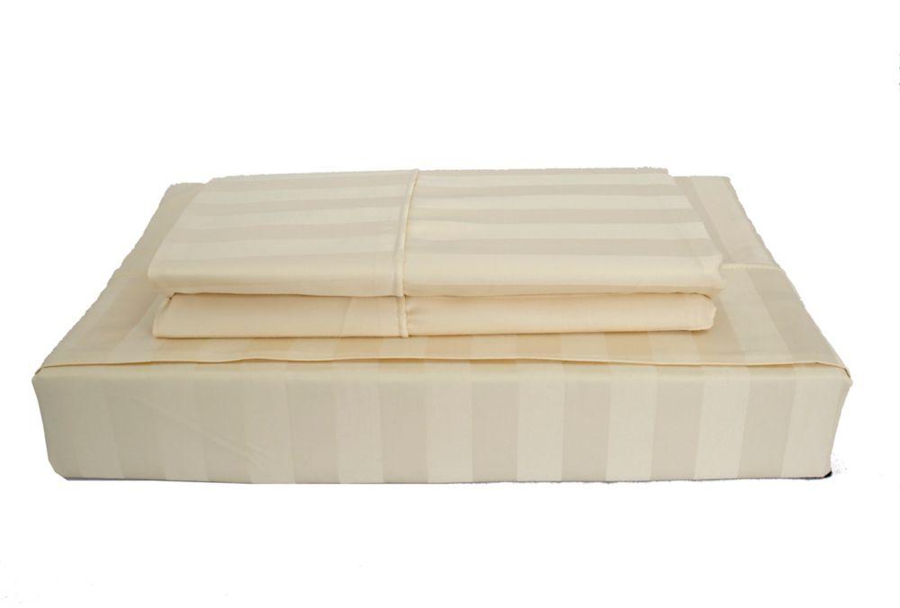 Maholi 310TC Bamboo Stripe Sheet Set, Beige, Queen