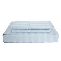 Maholi 310TC Bamboo Stripe Sheet Set, Blue, Twin