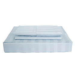 Maholi 310TC Bamboo Stripe Sheet Set, Blue, Double