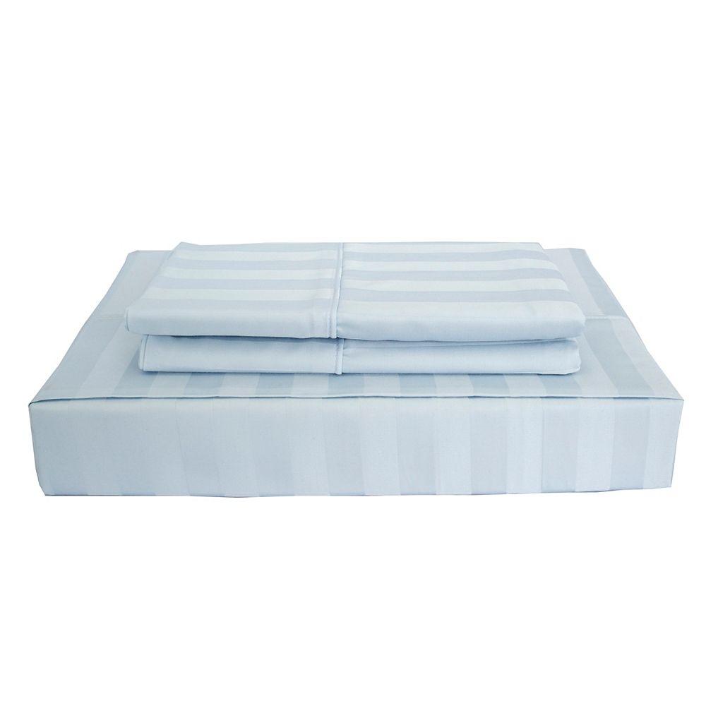 Maholi 310TC Bamboo Stripe Sheet Set, Blue, Double