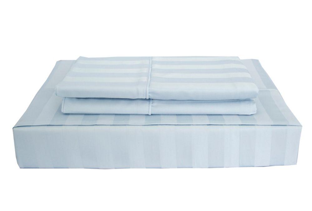 310 fils au pouce, Bamboo Stripe - Ensemble de feuille, Bleu, très grand lit
