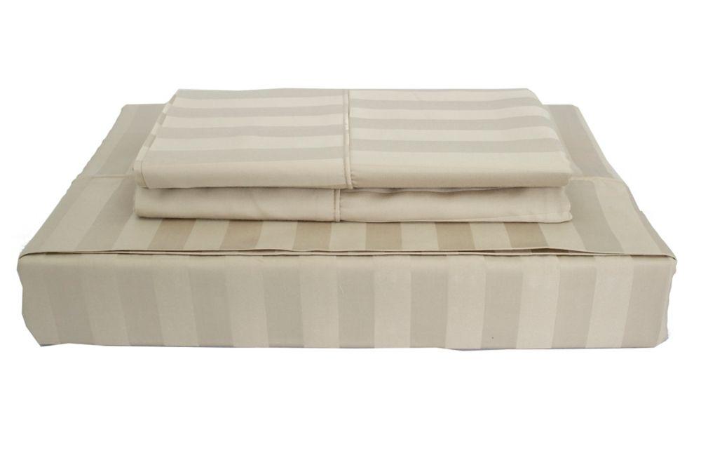 310 fils au pouce, Bamboo Stripe - Ensemble de feuille, Taupe, lit 1 place