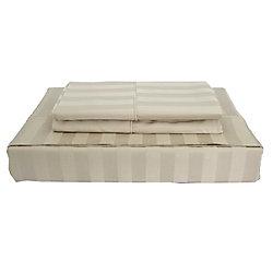 Maholi 310TC Bamboo Stripe Sheet Set, Taupe, Double