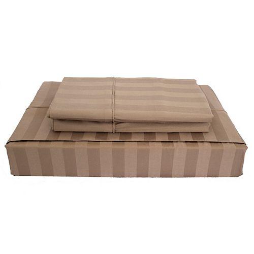 Maholi 310TC Bamboo Stripe Sheet Set, Mink, Twin