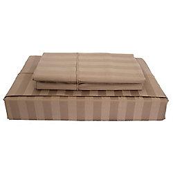 Maholi 310TC Bamboo Stripe Sheet Set, Mink, Queen