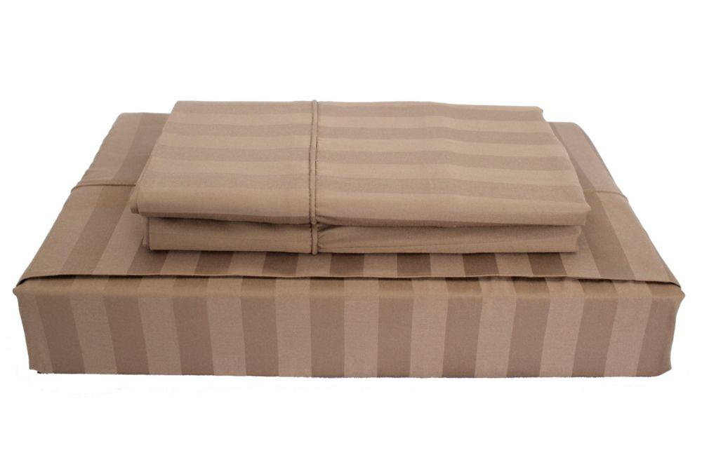 310TC Bamboo Stripe Sheet Set, Mink, Queen