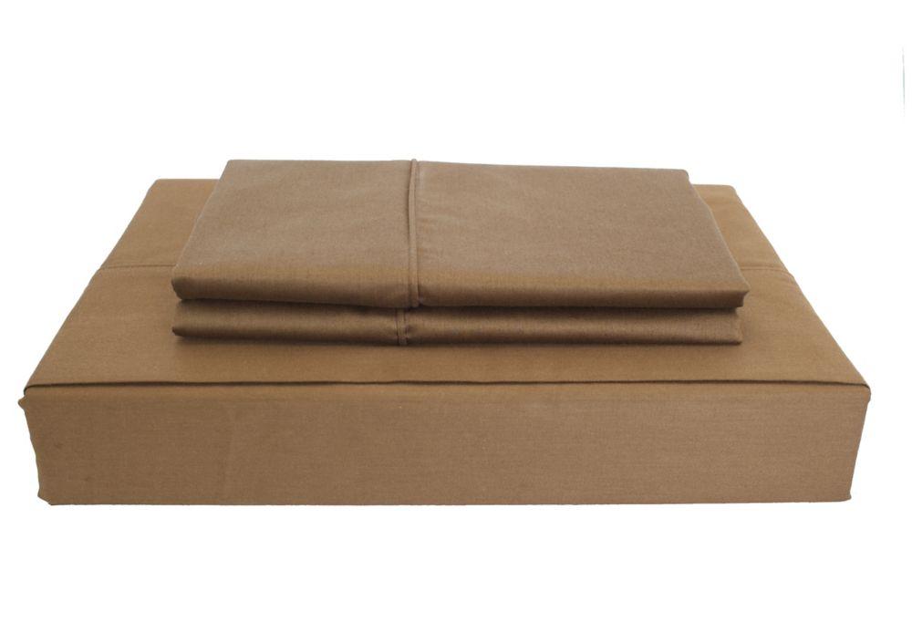 230 fils au pouce, Maxwell - Ensemble de draps, chocolat, lit 2 places