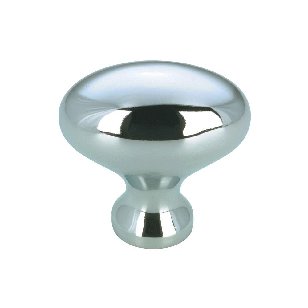 Bouton contemporain en métal - Chrome - Dia. 30x33 mm