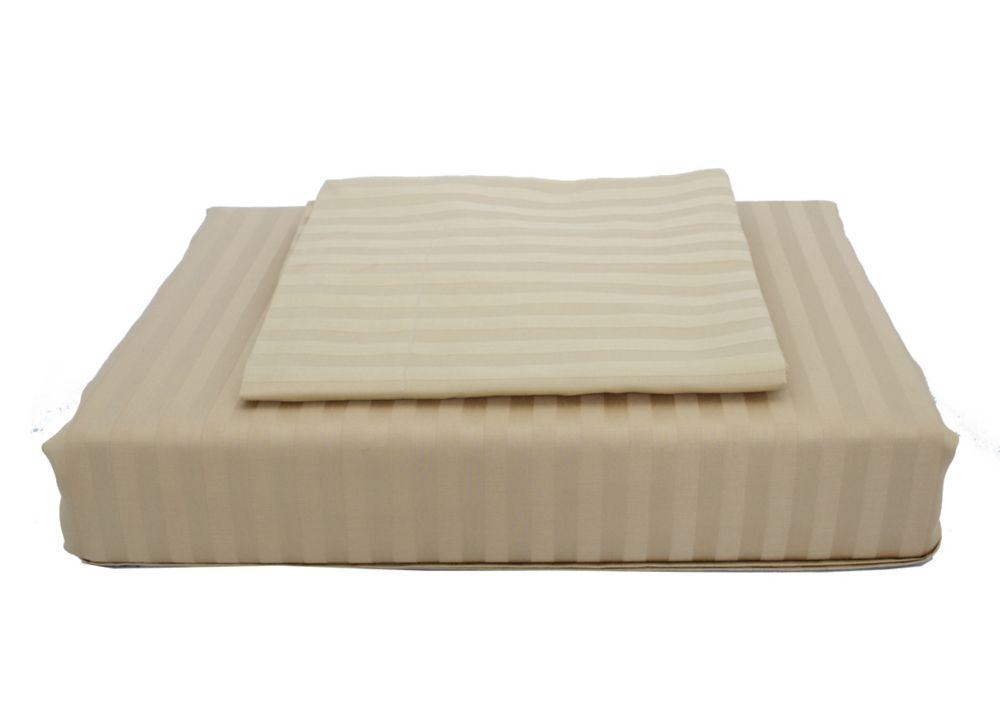 400TC Damask Stripe Duvet Cover Set, Sand, Queen
