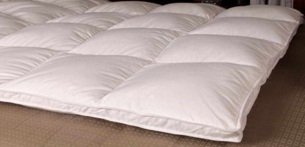 Royal Elite lit de plumes doie blanche à plateau-coussin de duvet, très grand lit