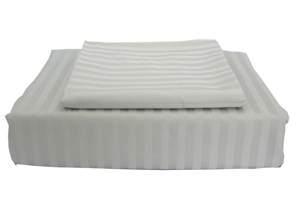 400 FP Damask Stripe -  Ensemble de housse de couette, Gris, grand lit