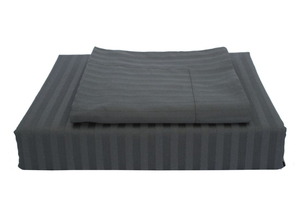 400TC Damask Stripe Duvet Cover Set, Black, Double