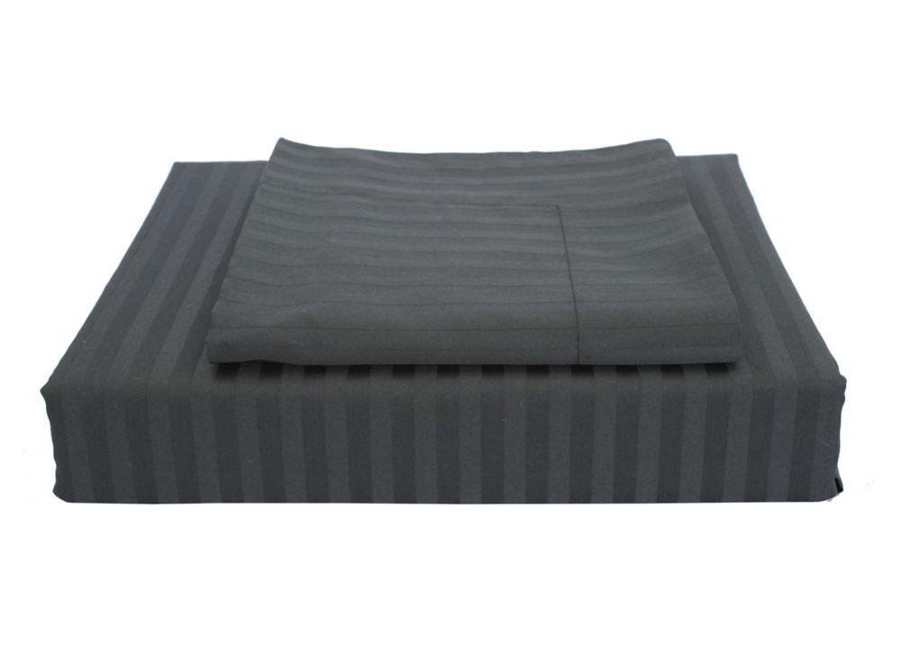 400 FP Damask Stripe -  Ensemble de housse de couette, Noir, très grand lit