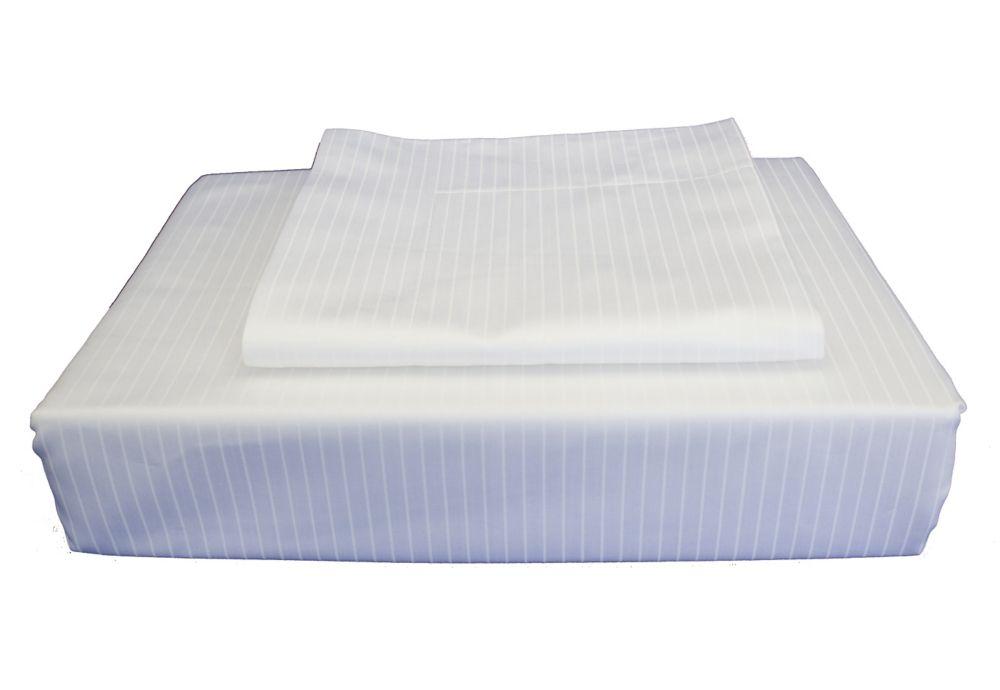 600TC Tuxedo Stripe Duvet Cover Set, White, Double