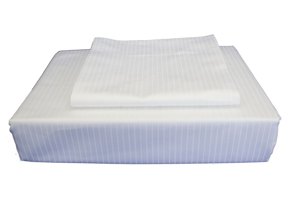 600 FP Tuxedo Stripe - Ensemble de housse de couette, Blanc, très grand lit.