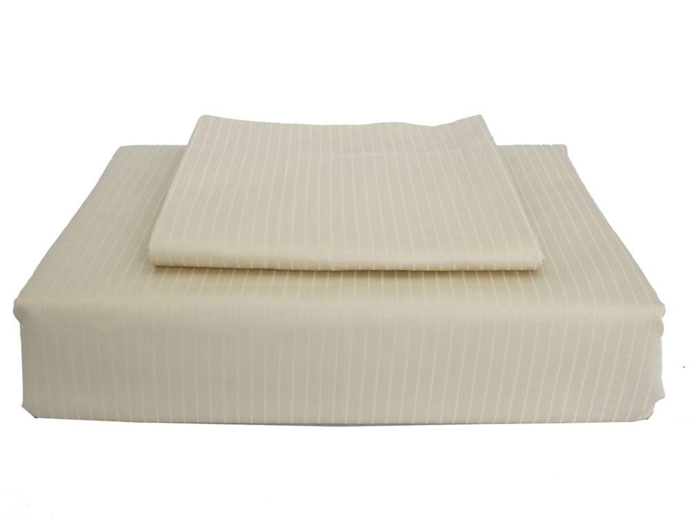 Maholi 600TC Tuxedo Stripe Duvet Cover Set, Sand, Twin