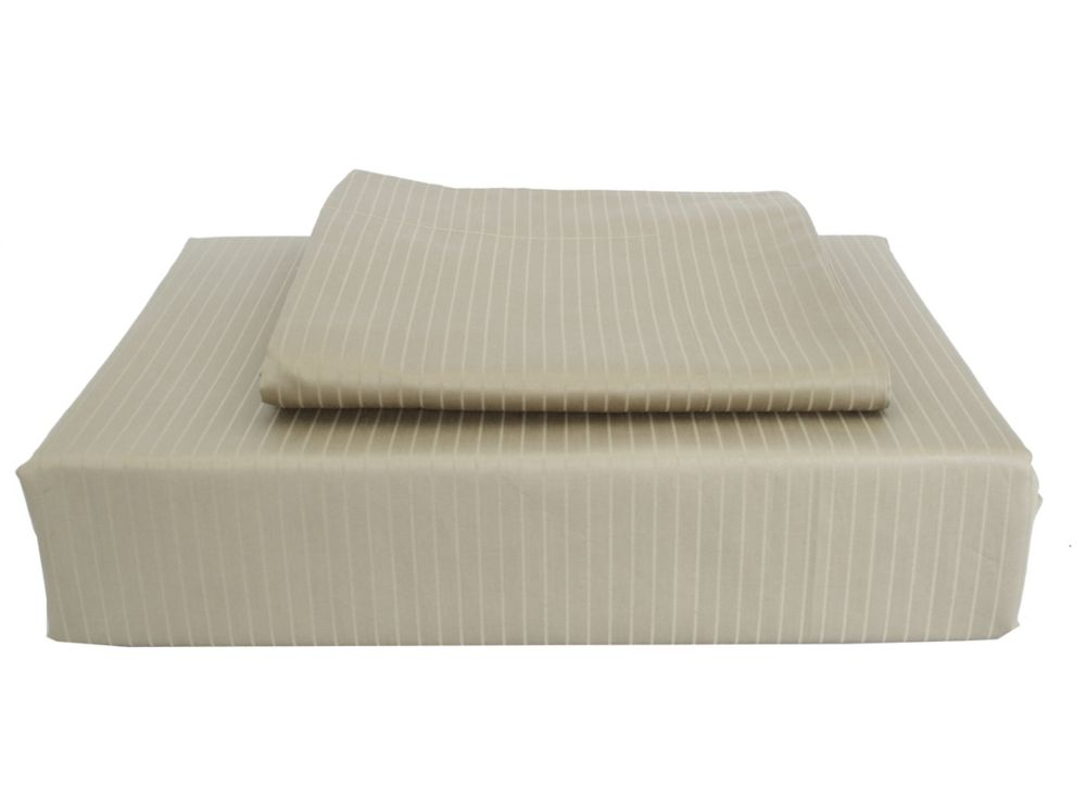 600TC Tuxedo Stripe Duvet Cover Set, Sage, Double