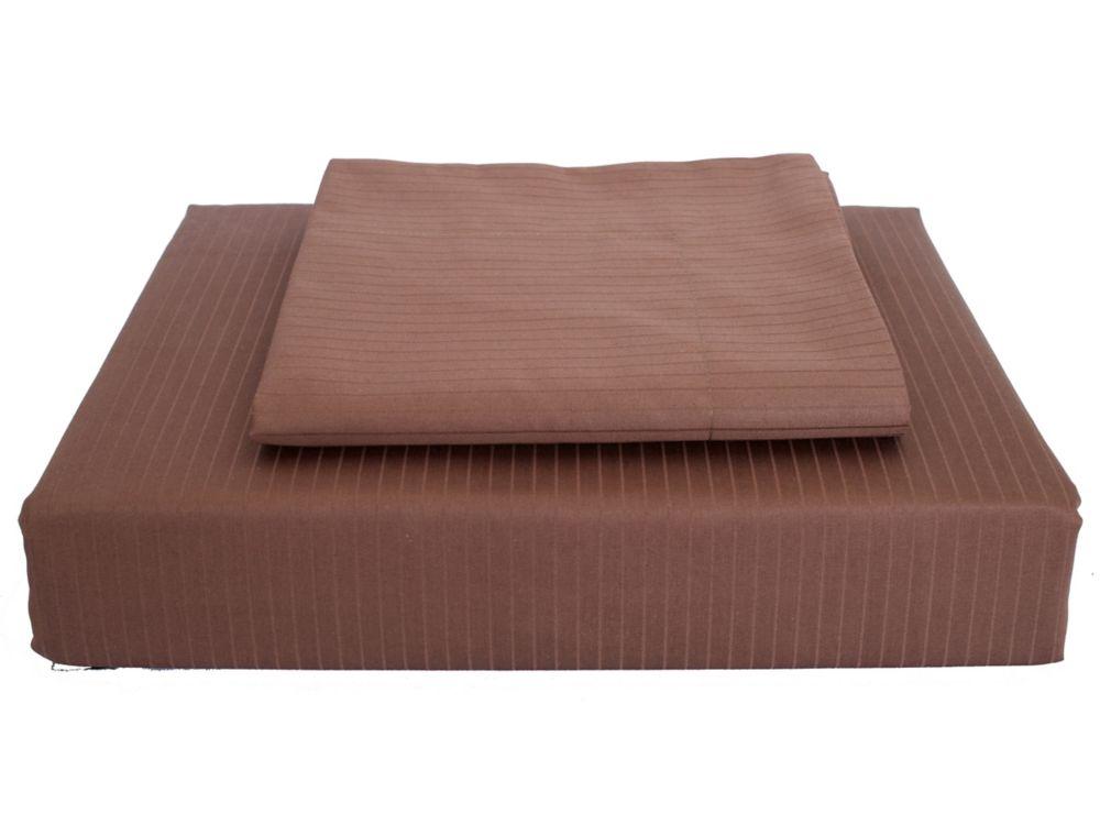 600 FP Tuxedo Stripe - Ensemble de housse de couette, Cacao, lit 1 place.