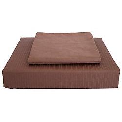 Maholi 600TC Tuxedo Stripe Duvet Cover Set, Cocoa, Twin