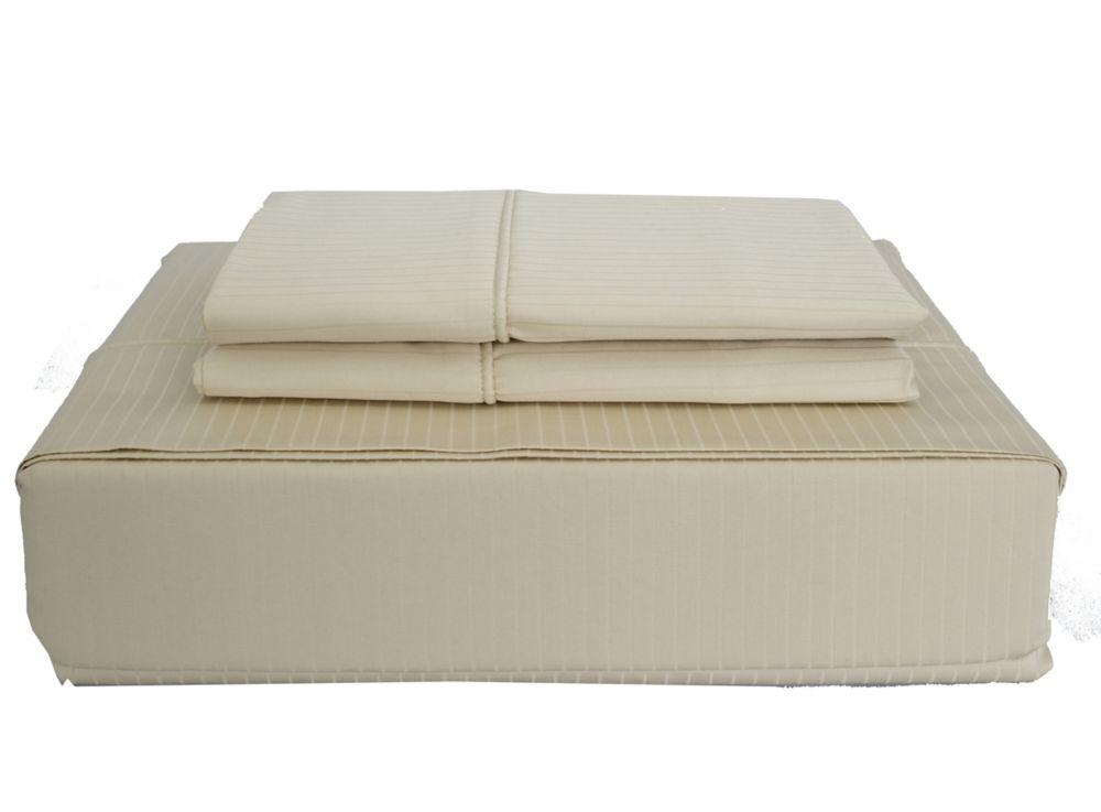 Maholi 600TC Tuxedo Stripe Sheet Set, Sand, Double