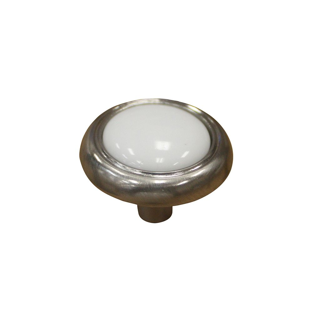 Classic Metal, Ceramic Knob - White, Brushed Nickel - 31,75 Mm Dia.