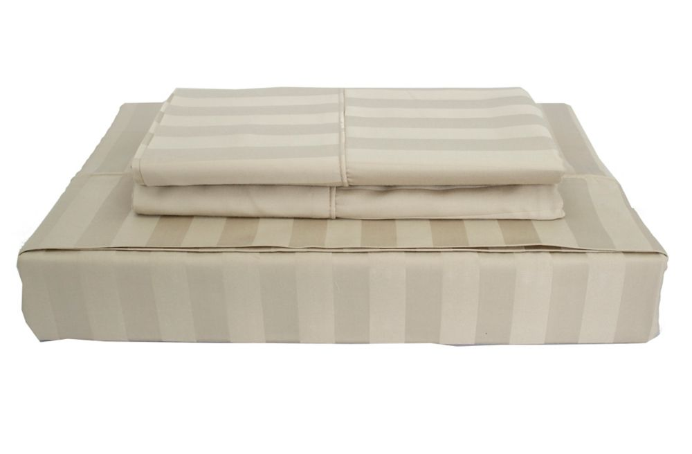 310TC Bamboo Stripe Sheet Set, Taupe, Queen LB-001SSTQ in Canada