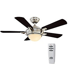 Midili 44-inch 5-Blade Brushed Nickel Indoor Ceiling Fan with Light Kit, Remote, Reversible Blades