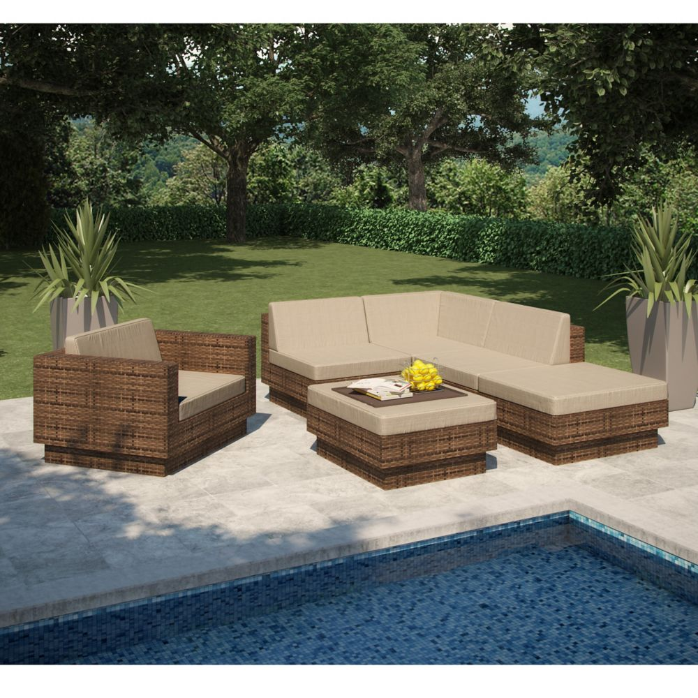 itm patio pe rattan sectional outdoor set ebay furniture s sofa wicker brown aluminum frame