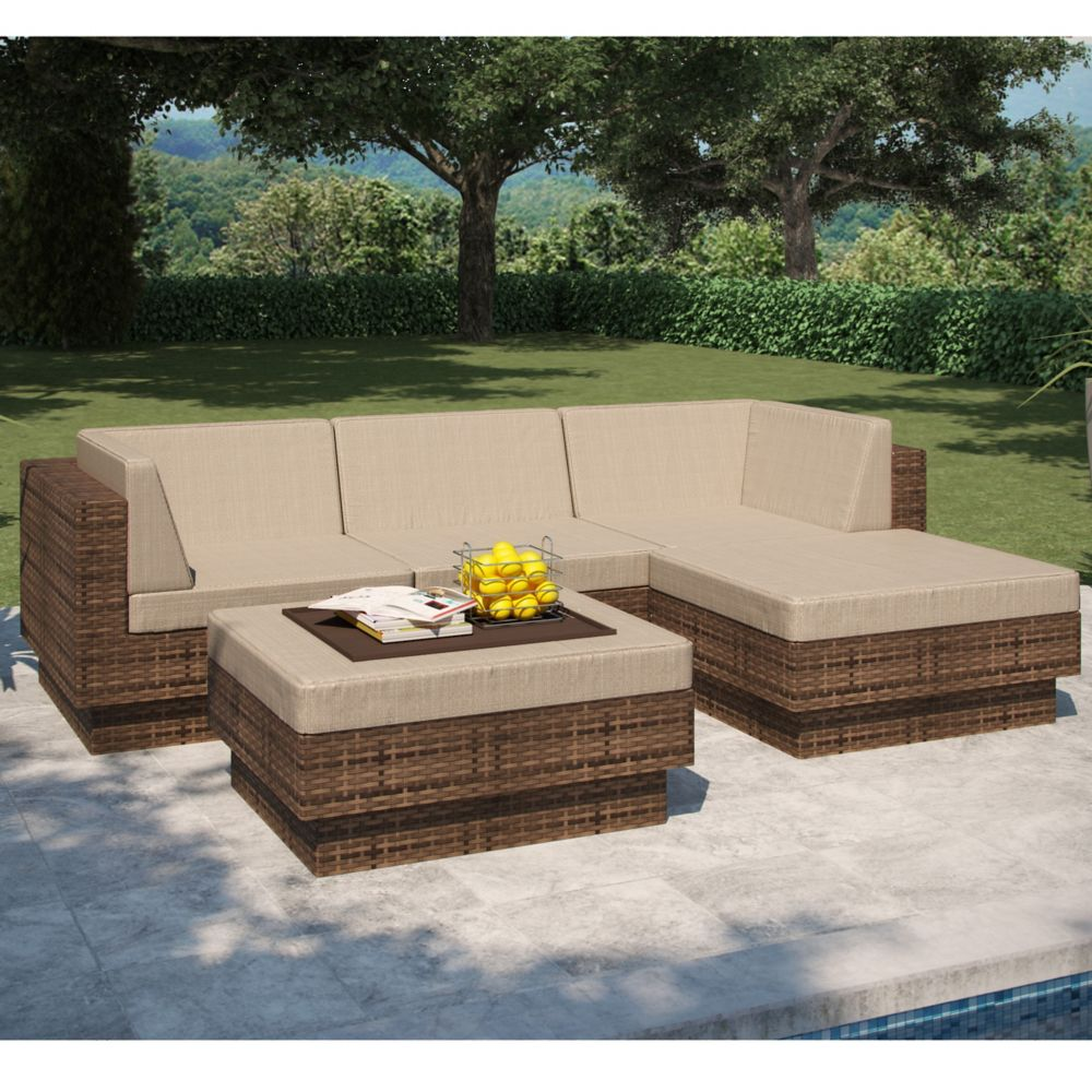 Park Terrace 5-Piece Double Armrest Patio Sectional Set in Saddle Strap