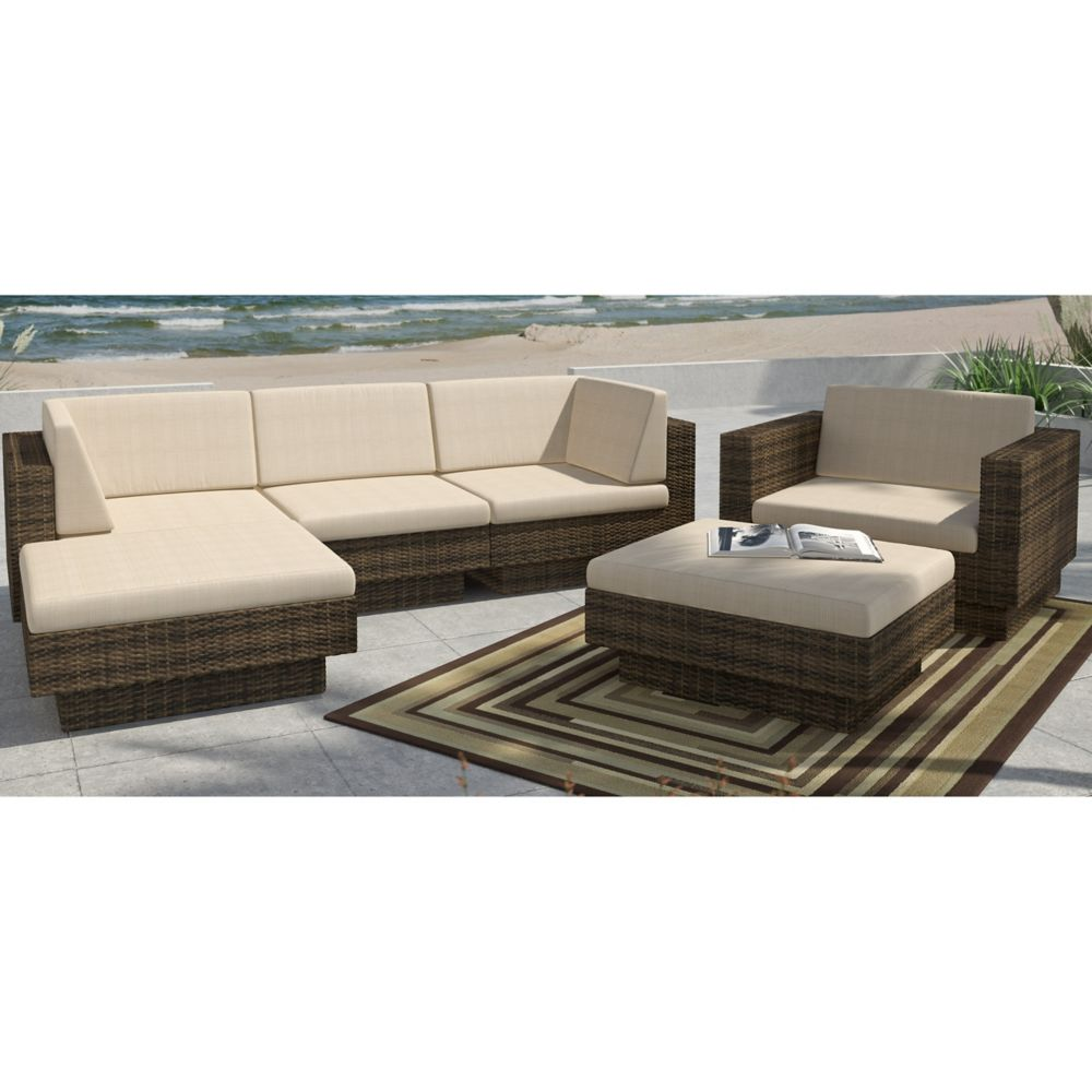 Park Terrace 6-Piece Double Armrest Patio Sectional Set in Saddle Strap