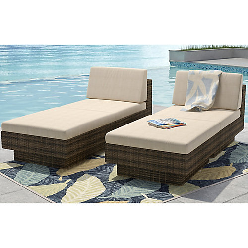 Park Terrace Saddle Strap Weave 4-Piece Lounger Patio Set
