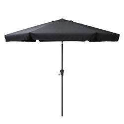 Corliving Parasol de patio rond et inclinable noir de 10 pieds