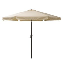 Corliving 10 ft. Round Tilting Warm White Patio Umbrella
