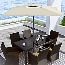 Corliving 9 ft. Square Tilting Warm White Patio Umbrella