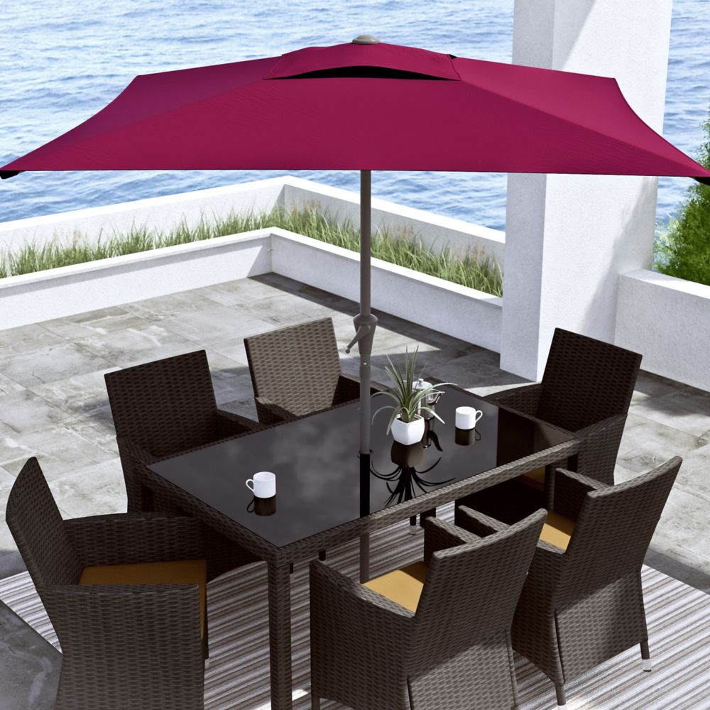 Corliving Square Patio Umbrella In Wine Red The Home Depot Canada