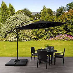 Corliving 9.5 ft. UV Resistant Offset Black Patio Umbrella