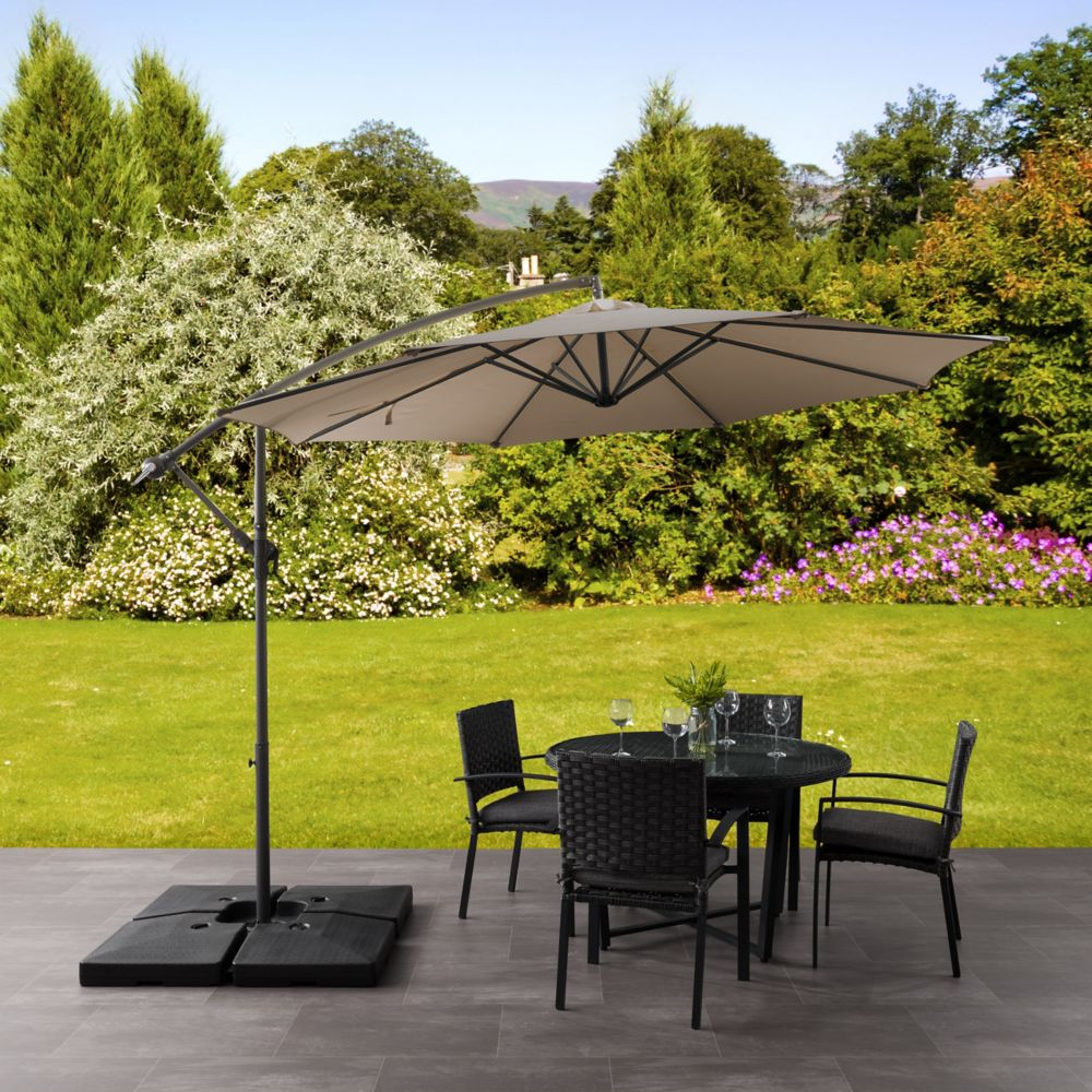 p patio offset sandy brown corliving resistant umbrella en wind tilting home in black the