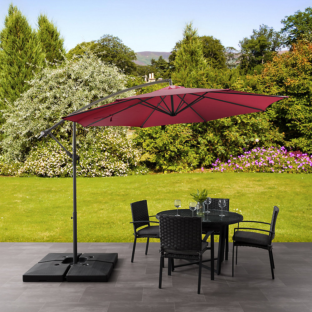9.5 ft. UV Resistant Offset Wine Red Patio Umbrella