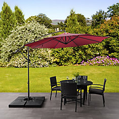 9.5 ft. UV Resistant Offset Wine Red Patio Umbrella