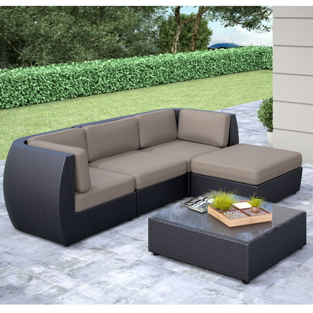 Seattle Curved 5 Pc Sofa With Chaise Lounge Patio Set